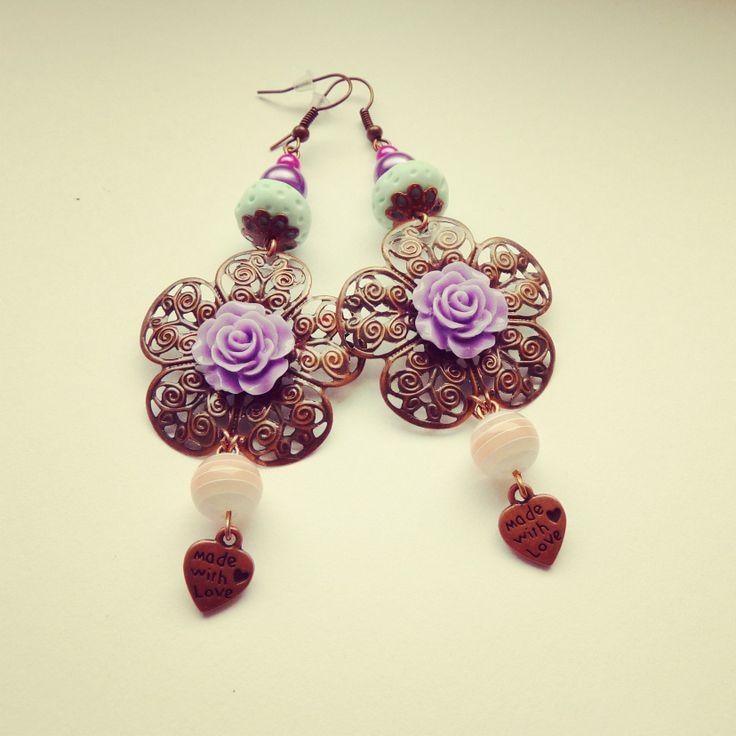 handmade earrings, flowers, purple rose, mint, pink, heart, made with love BY SHARYS