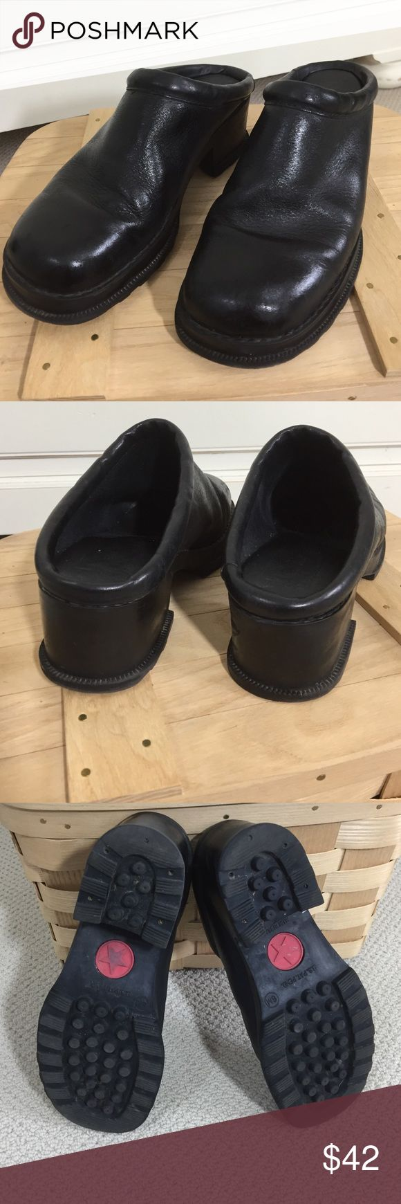 No Restrictions leather mule clog Think 90s. Super comfy. Black leather with lug type sole. Really good used condition. Great for summer festivals!  Dresses, jeans, shorts. no restrictions Shoes Mules & Clogs