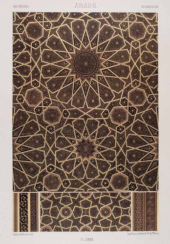1875 Chromolithograph Geometric Pattern Islamic Art Arabic Design Motif Quran - Original Chromolithograph