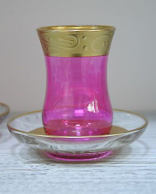 Hand Painted Turkish Pink & Gold Tea Set for 2