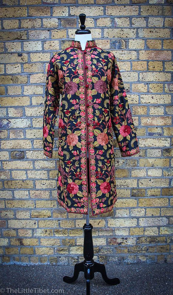 Fully Embroidery Silk Jacket, Handmade Silk Long Jacket for luxury
