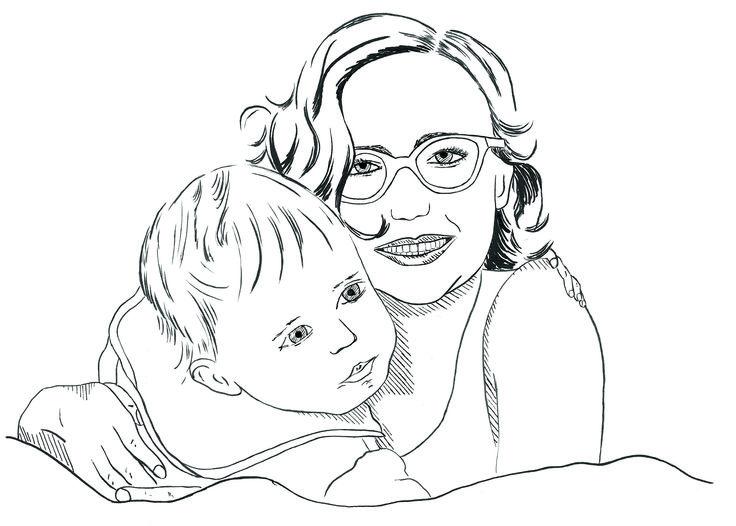 Portrait Frau mit Kind, Tusche auf Künstlerpapier Din A4