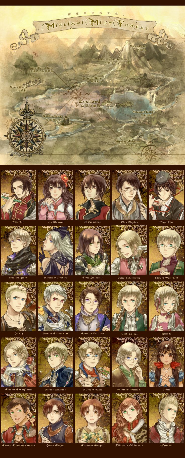 Hetalia as a fantasy RPG, and with some of the artist's head-canon names to boot ;) - Art by 炎鈴
