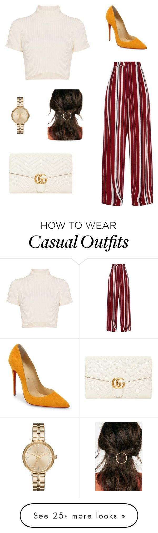 """Casual"" by ashleyalvarez-1 on Polyvore featuring Staud, Christian Louboutin, Gucci, Michael Kors and JustFab"