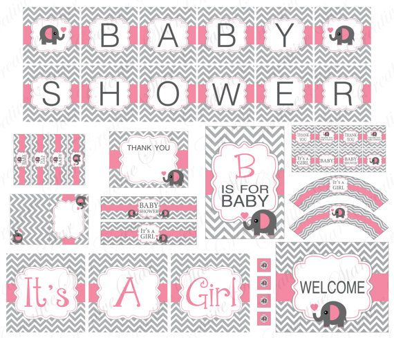 free printable baby shower kits for girl | Baby Shower Chevron Elephant Printable Party Package Modern Pink - It ...