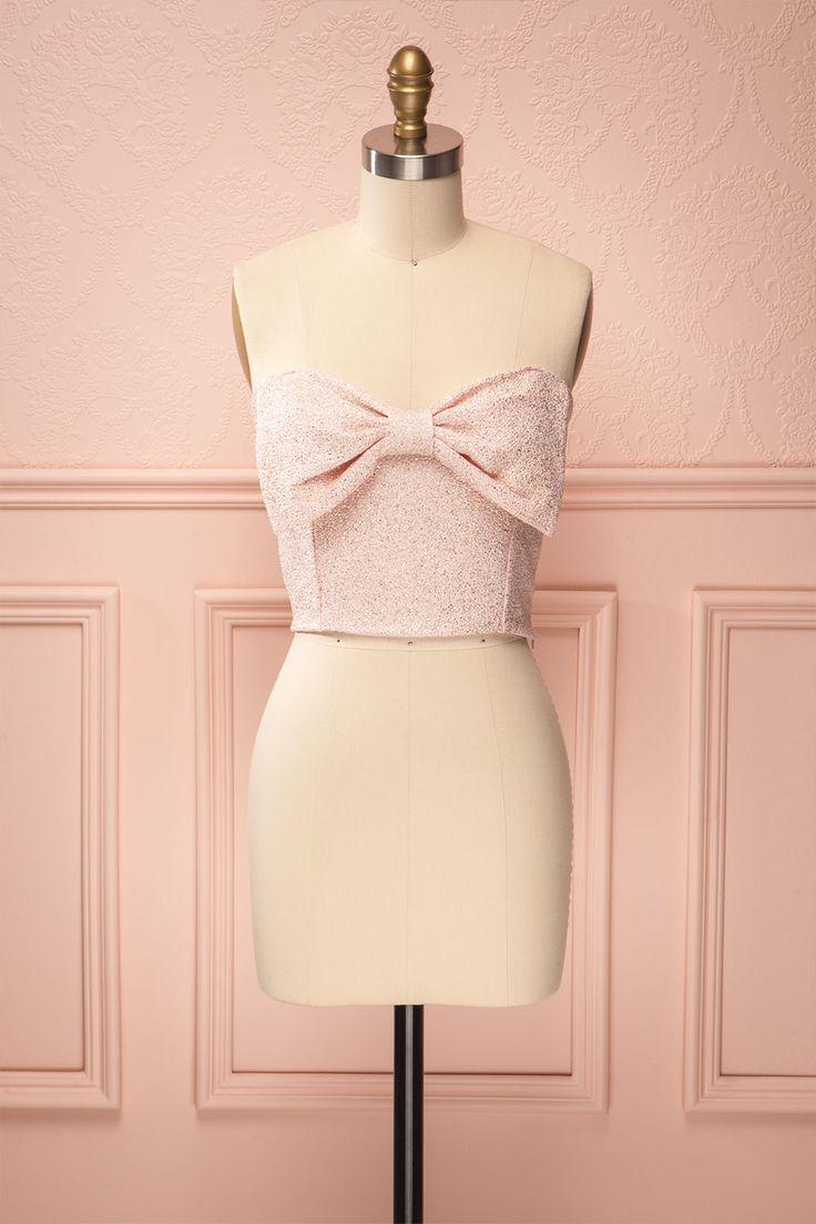 Katy Quartz - Pink crop top with bow | Boutique 1861