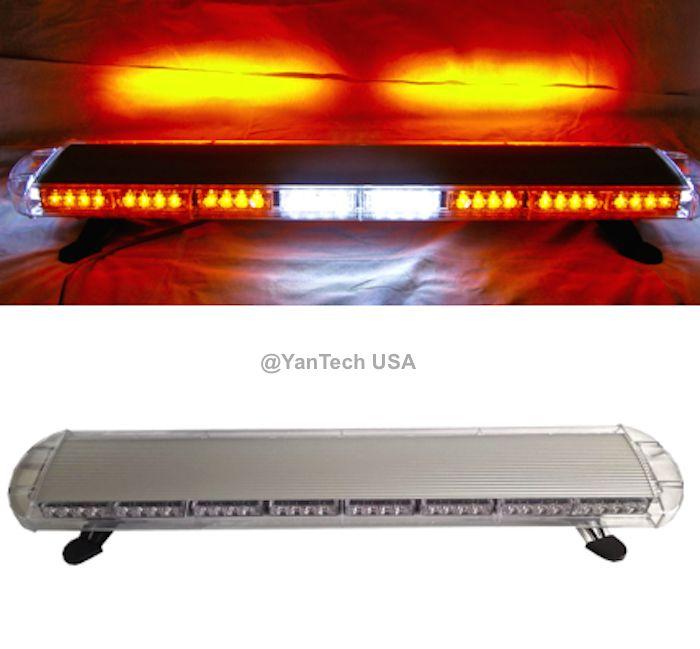 "44"" 72 LED AMBER LIGHT BAR EMERGENCY BEACON WARN TOW TRUCK PLOW WRECKER STROBE"