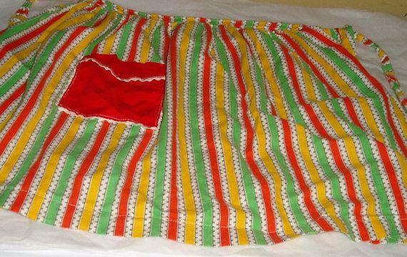 apron  vintage apron  vintage half apron  retro strip apron