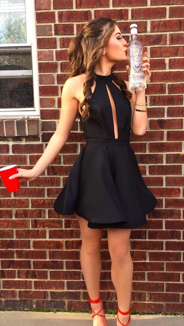 e891111baa8 A-Line Jewel Sleeveless Short Satin Little Black Dress with Keyhole