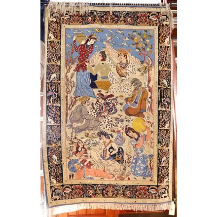 Persian pictorial part silk carpet | Clars Auction…