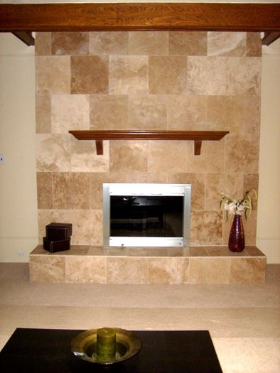 Travertine tile over an outdated brick fireplace fireplace - Tile over brick fireplace ...