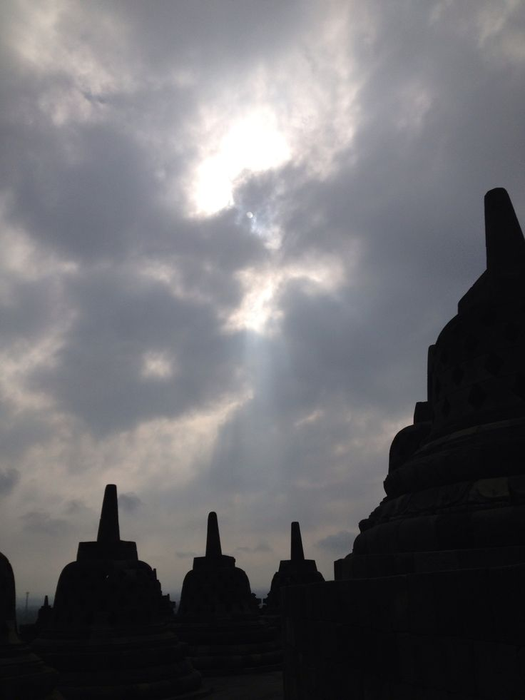 Sun rays shining on Borobudur Temple at Yogyakarta, Indonesia