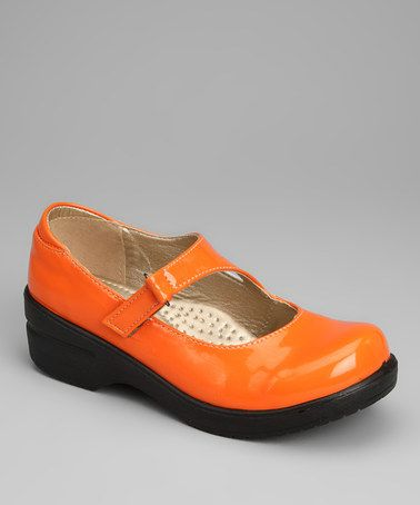 Take a look at this Orange Patent Dannis Mary Jane Clog by Rasolli on #zulily today!