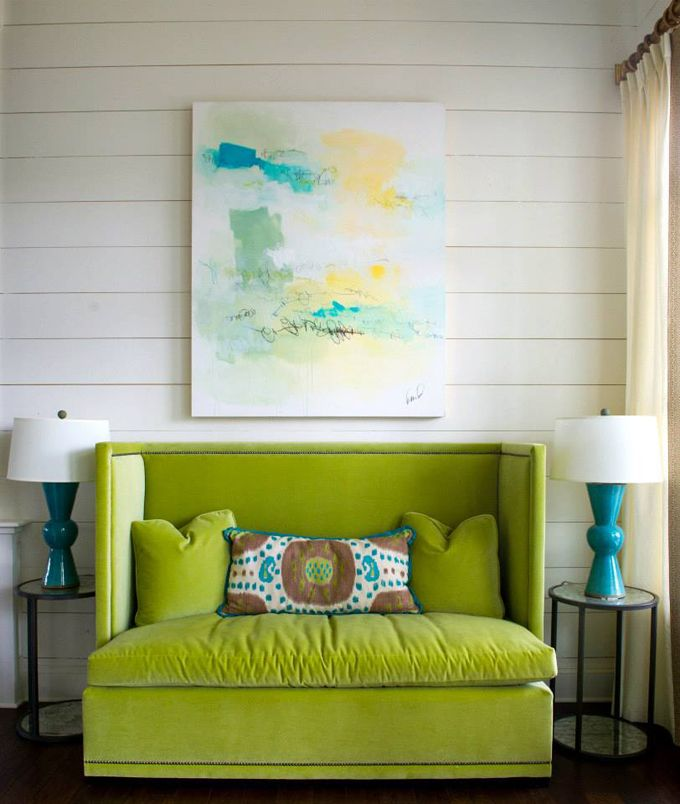 Olive Interiors: Adorable!  Love this chartreuse and turquoise color combo!!