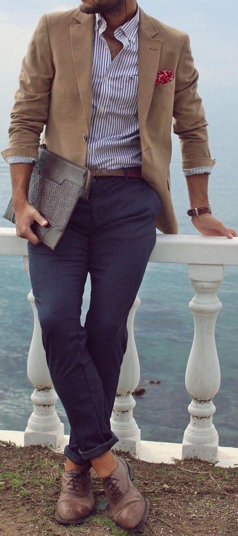 Light Brown / Camel Blazer . White / Navy Bengal Stripe Shirt . Brown Belt . Dark Blue / Navy Chinos . Brown Watch . Brown Leather Oxford Shoes .