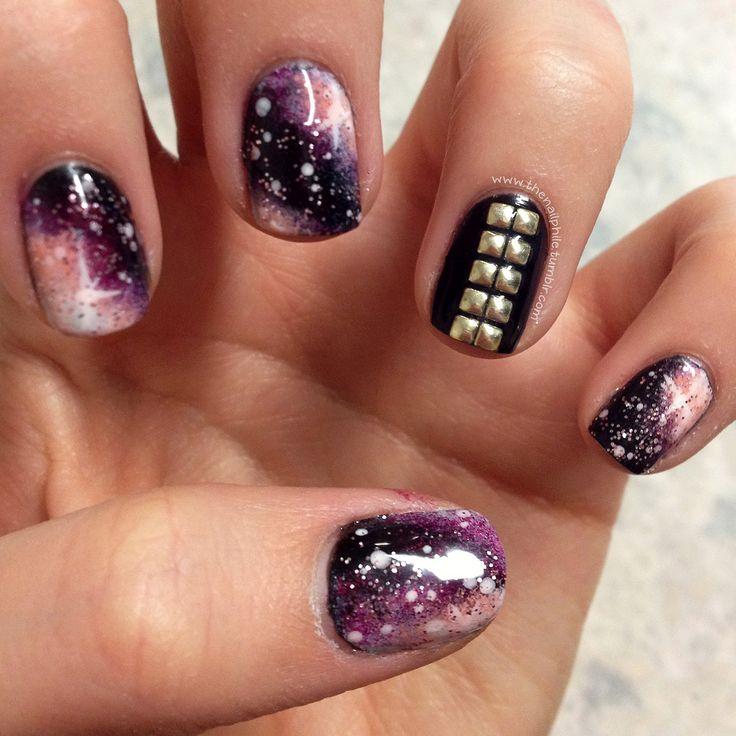 The Nailphile Pink Galaxy Nails