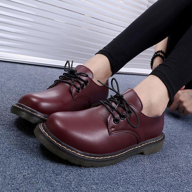 Barato 2016 nova moda de couro rodada Toe Lacing mulheres Oxfords Bristish estilo Oxfords para mulheres Ladies Causal sapatos baixos # 8211, Compro Qualidade Oxfords - Masculino diretamente de fornecedores da China:                      Bem-vindo à nossa loja                                                                     -T