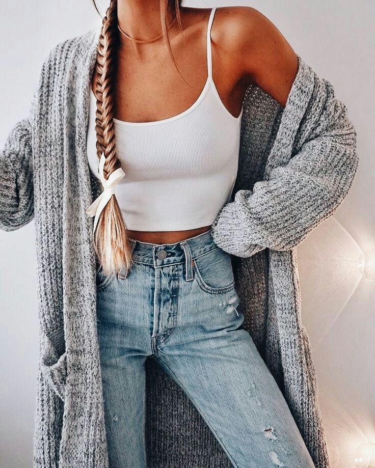 Styling with crop top and cardigan
