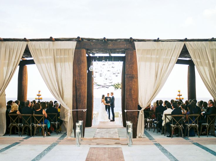 Photography : Ashley Bosnick Photography | Ceremony Venue : The Resort At Pedregal | Wedding Dress : Vera Wang | Grooms Attire : Bespoke | Reception Venue : Villa Turquesa | Wedding Planning + Design : Elena Damy Floral Design Read More on SMP: http://www.stylemepretty.com/2016/04/04/see-how-modern-chic-a-cabo-san-lucas-wedding-can-be/