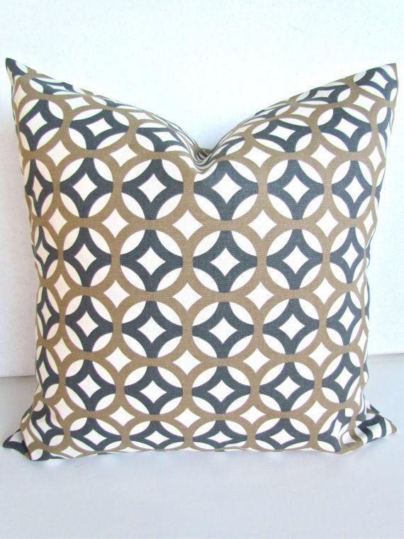 PILLOW COVER 18x18 TAN Throw Pillow Covers Gray 18 X 18 Decorative Throw  Pillows Geometric Pillow