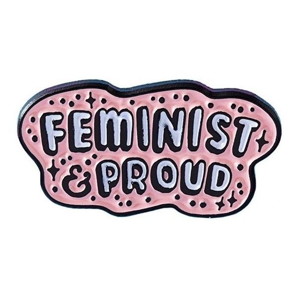Feminist & Proud Pin from Punky Pins at Beadesaurus | Free UK Shipping... (€45) ❤ liked on Polyvore featuring jewelry, brooches, enamel brooches, pink brooch, pink jewelry, dot jewellery and star jewelry