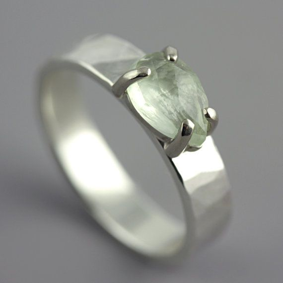 Hammered White Gold Ring with Prehnite  Green by SarahHoodJewelry, $690.00