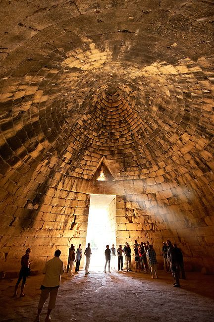"Interior of the Treasury of Atreus (Agamemnon's Tomb) an impressive ""tholos"" beehive shaped tomb on the Panagitsa Hill at Mycenae an UNESCO World Heritage Archaeological Site, in the north-eastern Peloponnese"