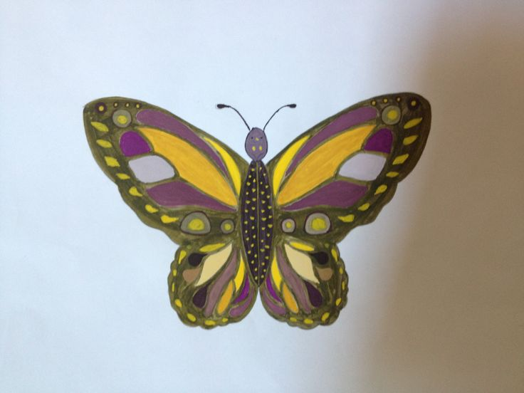 Butterfly. A Yellow-Purple Practice.