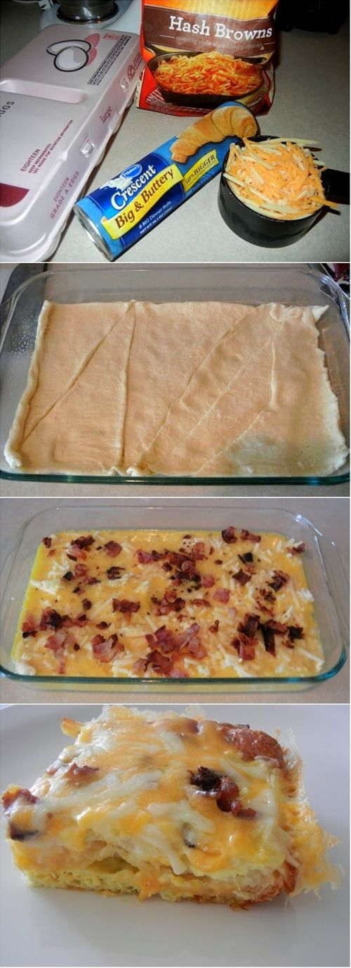 Ingredients: 12 eggs 1 cup of shredded cheese 3 cups of shredded hash browns 1 can of crescent roll dough 6 slices of bacon