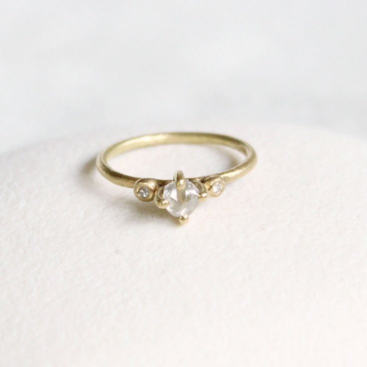 Claw Set 0.5ct White Rough Diamond 18ct Yellow Gold, uncut diamond ring by TamaraGomez on Etsy