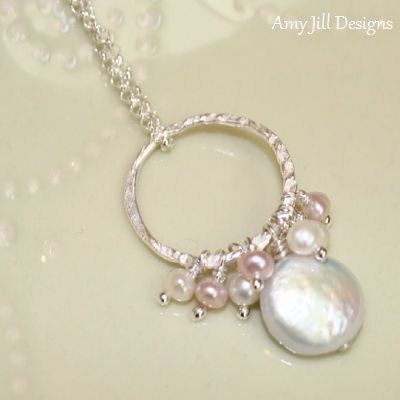 Coin Pearl Necklace, White Pink Potato Pearl Pendant, June Birthstone, Bridesmaid Wedding Jewelry on Etsy, $44.00