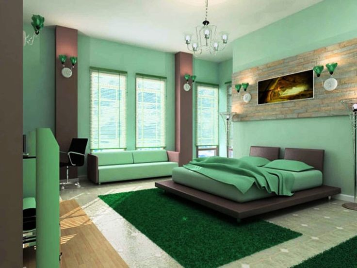 master bedroom design with green colors