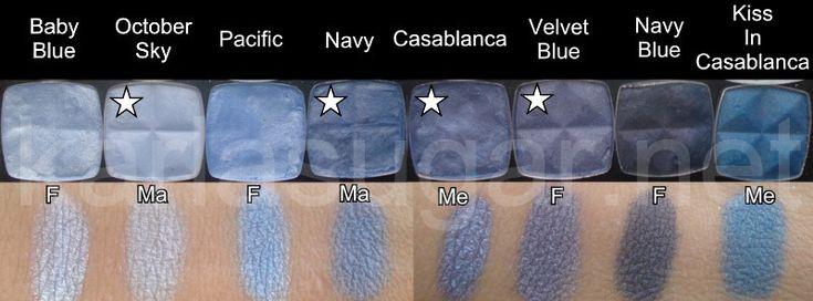 NYX, swatches, Baby Blue, October Sky, Pacific, Navy, Casablanca, Velvet Blue, Navy Blue, Kiss in Casablanca