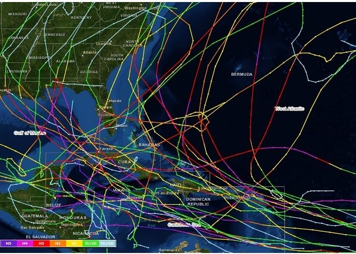 Category 3 5 Caribbean Hurricane Track History 1990 2012