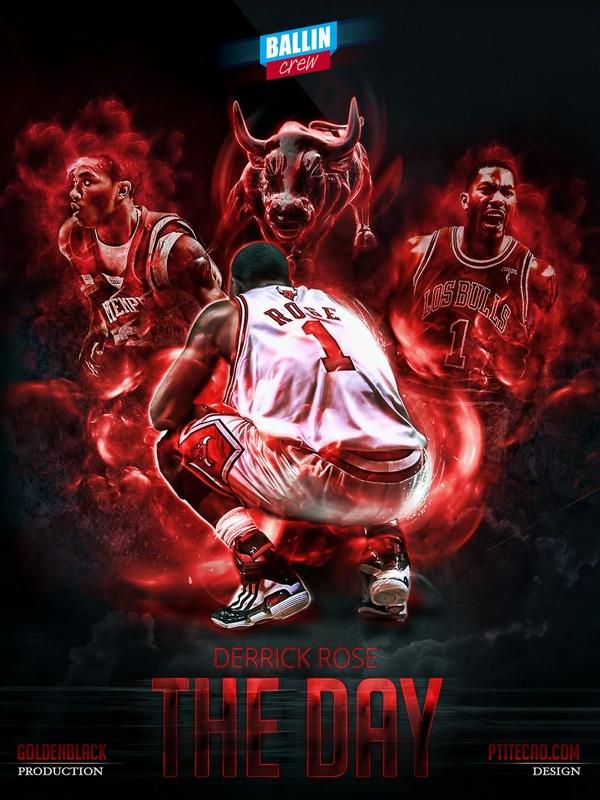 Derrick Rose NBA Posters By Caroline Blanchet Via Behance