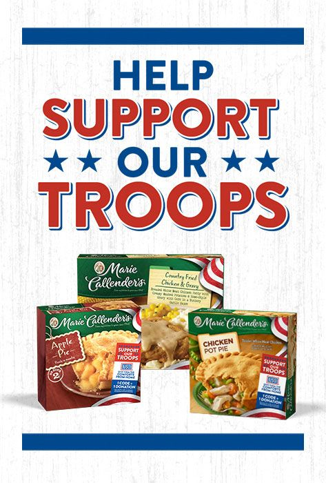 It's easy to support our servicemen and servicewomen through Marie Callender's® Comforts From Home Project. Just enter the code from specially marked packages of Marie Callender's dinners and desserts, and we'll send a donation to USO2GO. #ComfortsFromHome