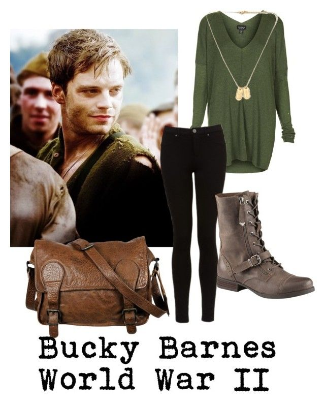 """""""Bucky Barnes Captain America The First Avenger"""" by carolinelaufeyson ❤ liked on Polyvore featuring Topshop, ALDO and VIPARO"""