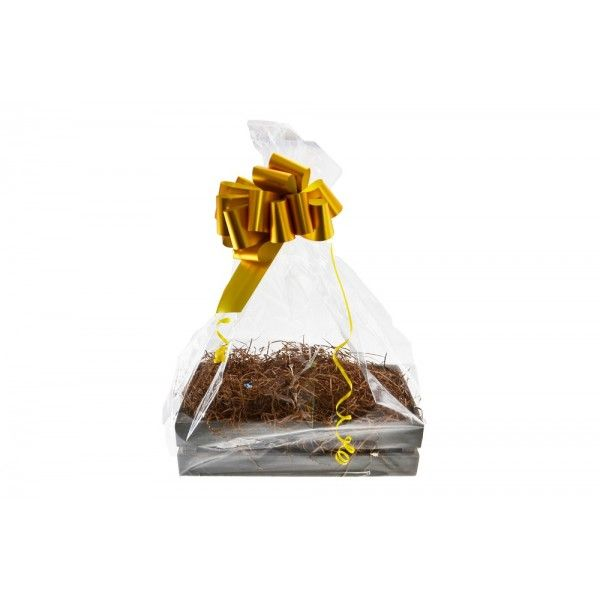 Shelton Small Crate (Christmas Gift Kit) Manila Shred, Gold Bow