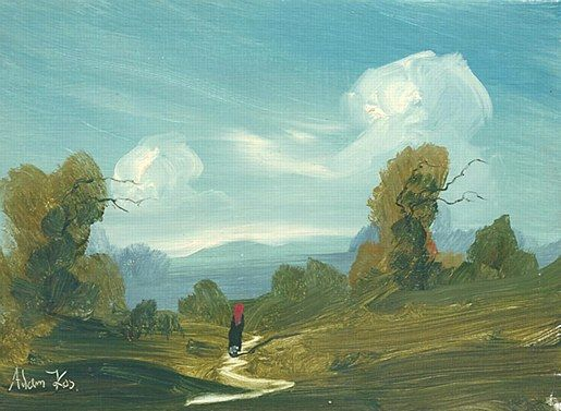 Adam Kos=I walk to remember #art #painting #Westmeath #path #road #cottage #Ireland #DukeStreetGallery
