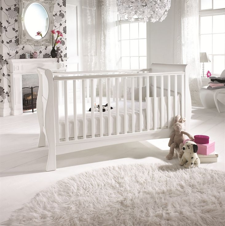 Izzywotnot - can get form E-bay also ... Bailey Sleigh Cot Bed (white)