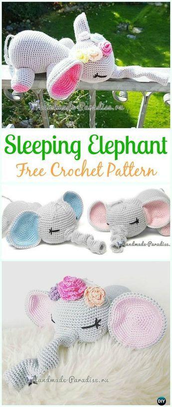 Crochet Sleeping Elephant Amigurumi Free Pattern - #Crochet Amigurumi Crochet #Elephant Toy Softies Free Patterns