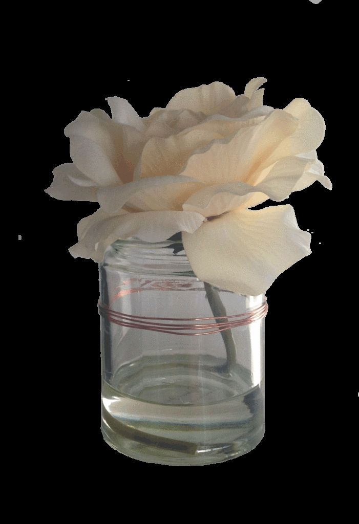 Cream Rose Arrangement with Glass Jar with Copper Detail