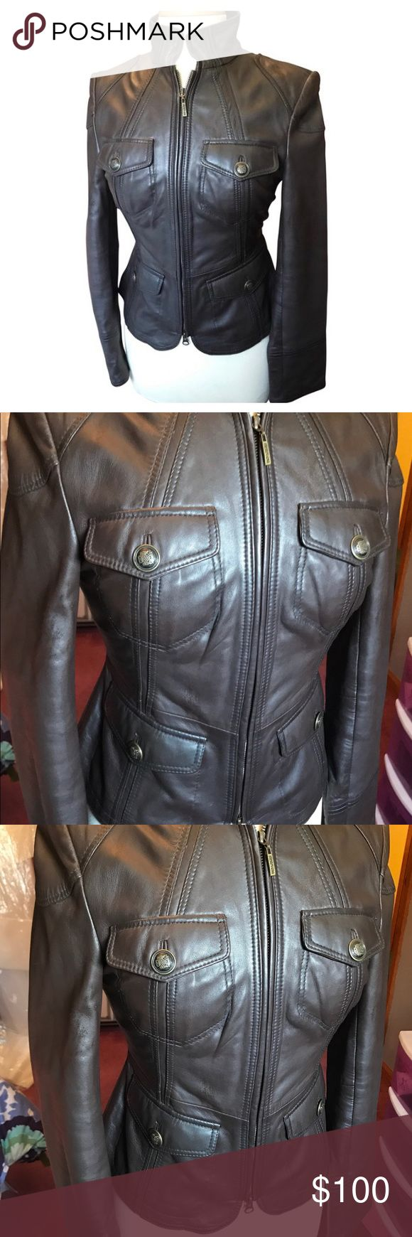 Cole Reaction Dark Brown Leather Jacket Chocolate