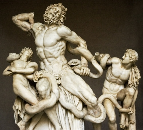 The Laocoon, one of antiquities most famous sculptures from the 1st century CE. Rediscovered and unearthed during Michelangelo's life, it was a key inspiring piece for him throughout his career.
