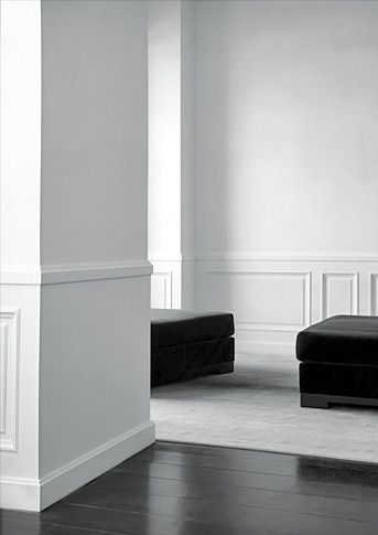 Interior by French architect Joseph Dirand. Modern with a classical elegance. I had initially thought that a dark wooden floor may work with the white walls (although not as dark as this) but I am now less inclined towards this. I like the carpet colour for the bedroom.