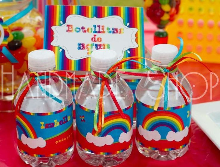 botellas de agua decoradas | Ideas para una fiesta | Pinterest