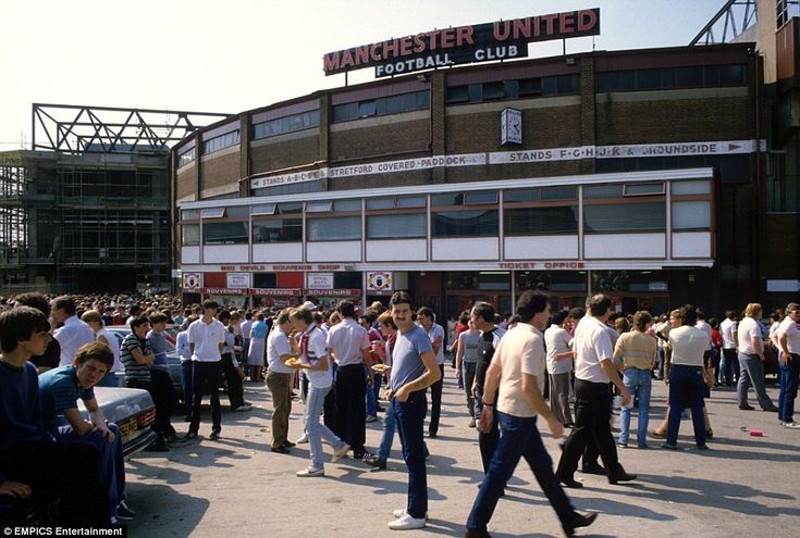 Manchester United fans flock into the ground for a league clash with Chelsea in 1984. The match finished 1-1