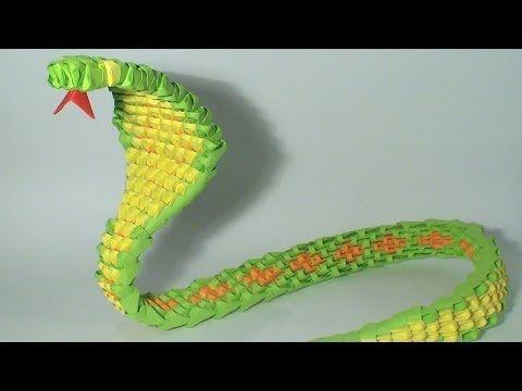 ▶ 3D origami green snake tutorial - YouTube