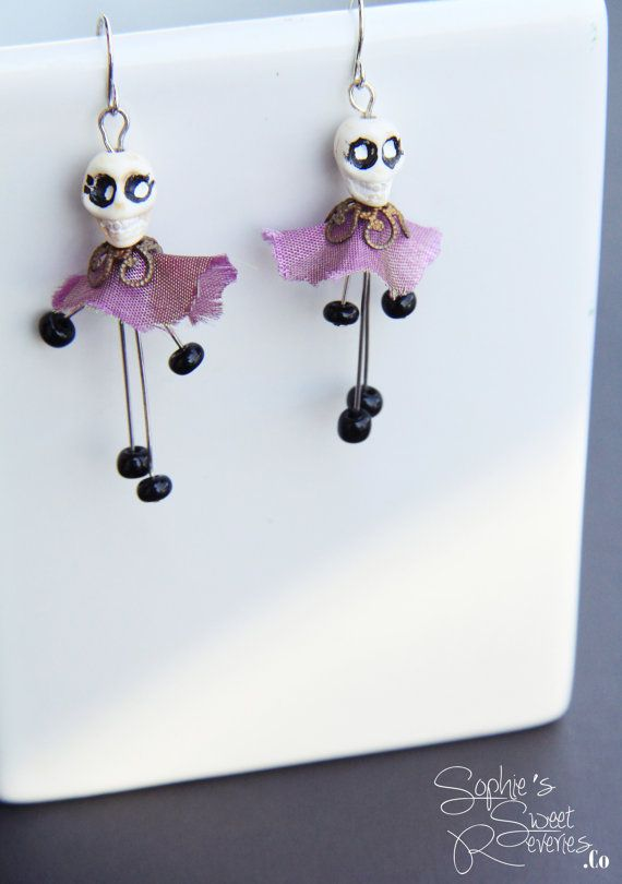 Day of the Dead Skull Earrings, Skull Earrings, Halloween Earrings, Halloween Jewelry