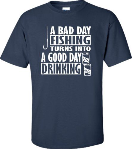 Funny T Shirts For Sale Crew Neck Men Short-Sleeve Compression A Bad Day Fishinger Turns Into A Good Day Drinking T Shirts #Affiliate